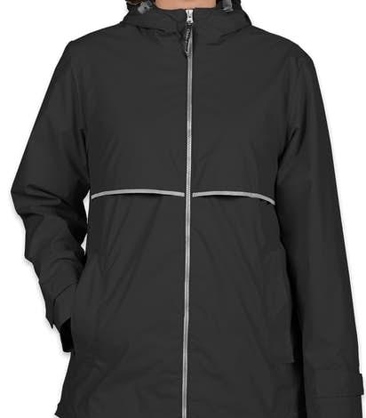 Charles River Ladies New Englander Hooded Rain Jacket - Black / Reflective