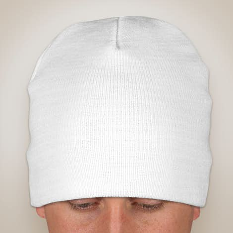 Yupoong Solid Knit Beanie - White