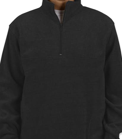 Harriton Quarter Zip Fleece Pullover - Black