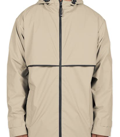 Charles River New Englander Hooded Rain Jacket - Taupe / Navy