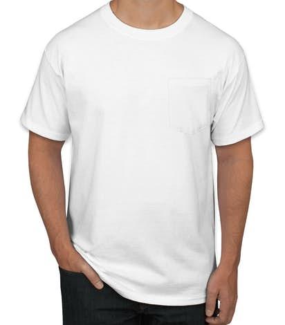 Hanes Beefy-T w/ Pocket - White