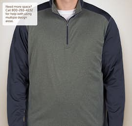 Ultra Club Lightweight Colorblock Quarter Zip Performance Pullover - Color: Grey Heather / Navy