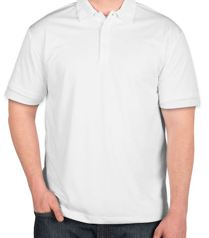Port Authority Silk Touch Performance Polo - Screen Printed - White