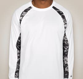 Badger Digital Camo Long Sleeve Performance Shirt - Color: White / Black