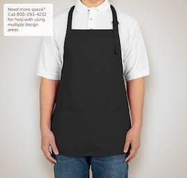 Stain Release Medium Length Apron - Screen Printed - Color: Black