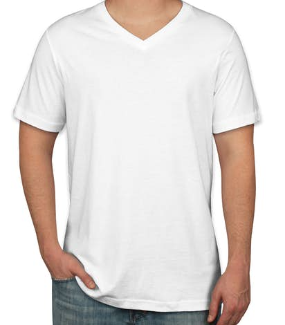 Custom Canvas Jersey V-Neck T-shirt - Design Short Sleeve T-shirts ...