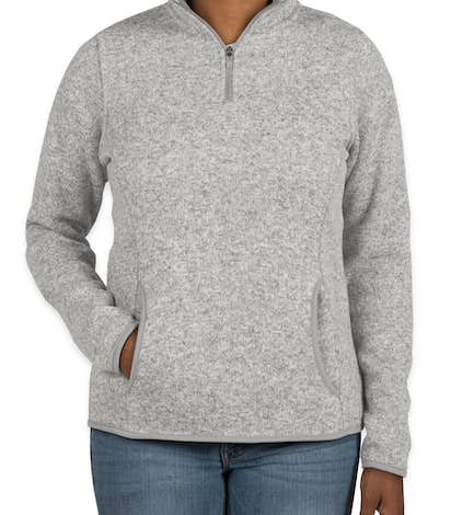 Charles River Ladies Quarter Zip Sweater Fleece Pullover - Light Grey Heather