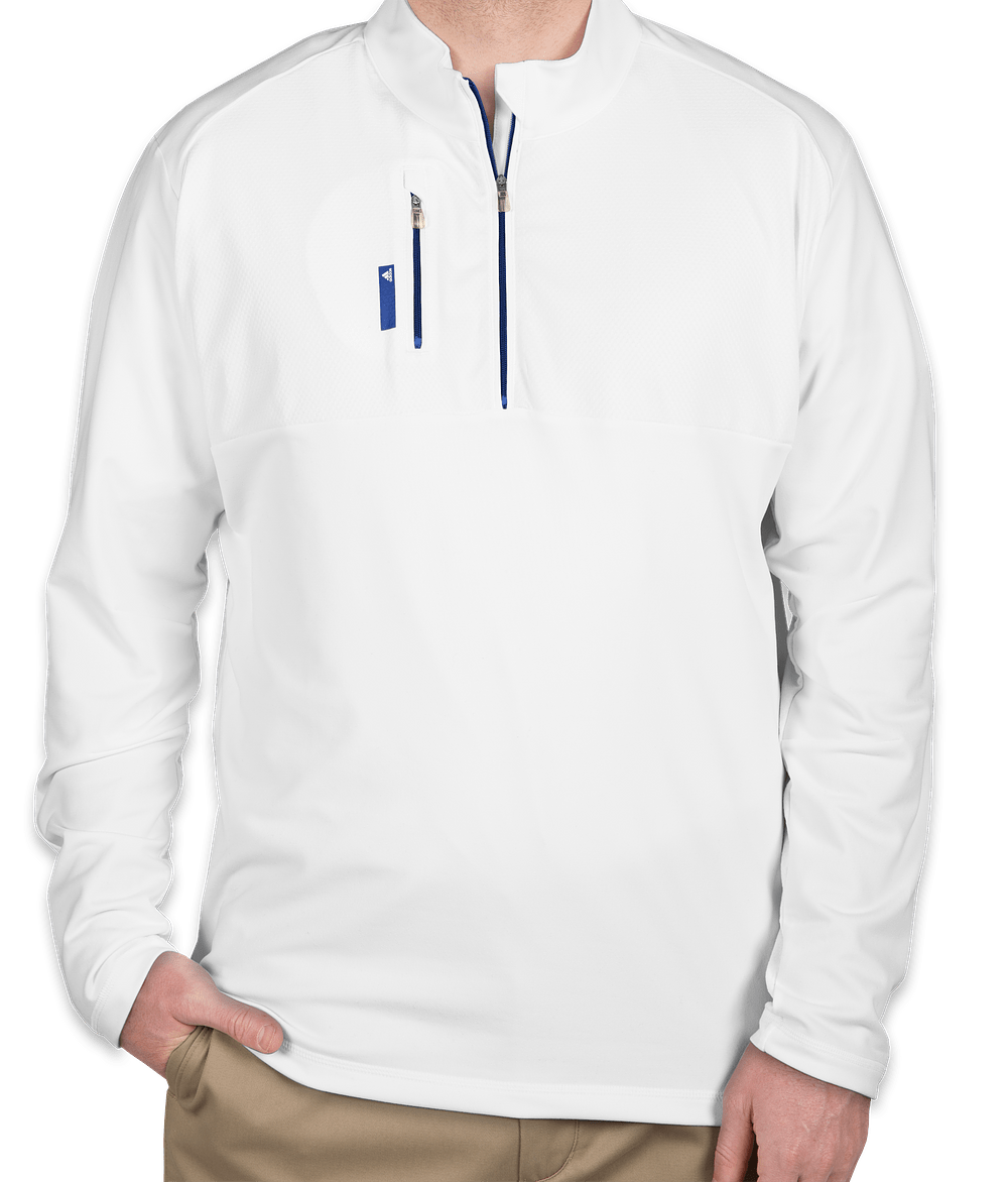 adidas quarter zip. adidas golf contrast quarter zip pullover - white / bright royal