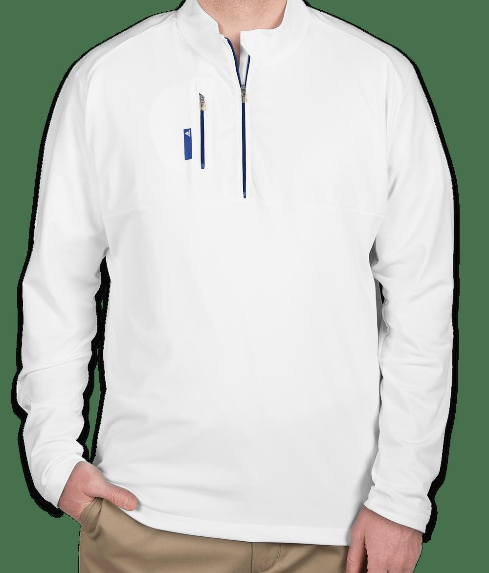 adidas quarter zip. adidas golf contrast quarter zip pullover - white / bright royal