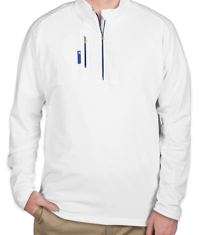 Adidas Golf Contrast Quarter Zip Pullover - White / Bright Royal