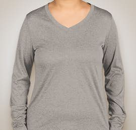 Sport-Tek Ladies Long Sleeve Heather V-Neck Performance Shirt - Color: Vintage Heather