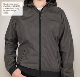 Sport-Tek Ladies Embossed Full Zip Hooded Jacket - Color: Graphite / Black