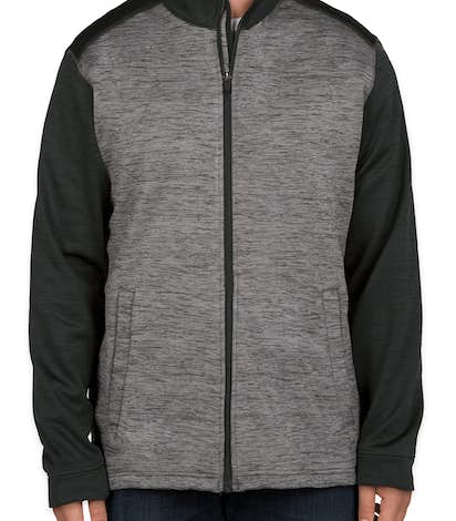 Devon & Jones Newbury Melange Fleece Full Zip Jacket - Black Heather / Dark Grey Heather