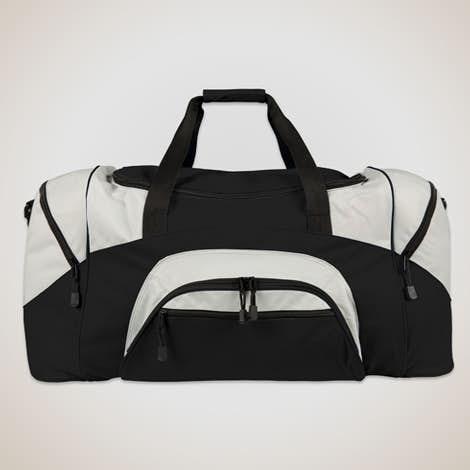 Colorblock Gym Bag - Embroidered - Black / Grey
