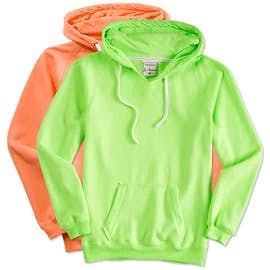 J. America Ladies Neon V-Neck Pullover Hoodie