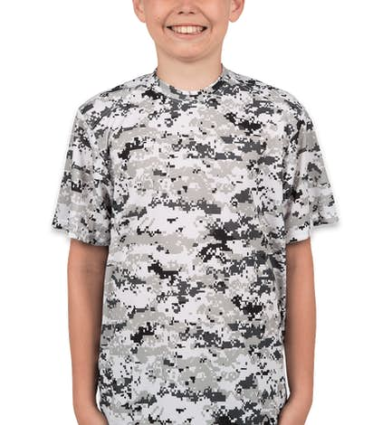 Badger Youth Digital Camo Performance Shirt - White Digital