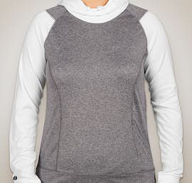 Holloway Ladies Ultra Lightweight Hooded Performance Shirt - Color: Graphite Heather / White